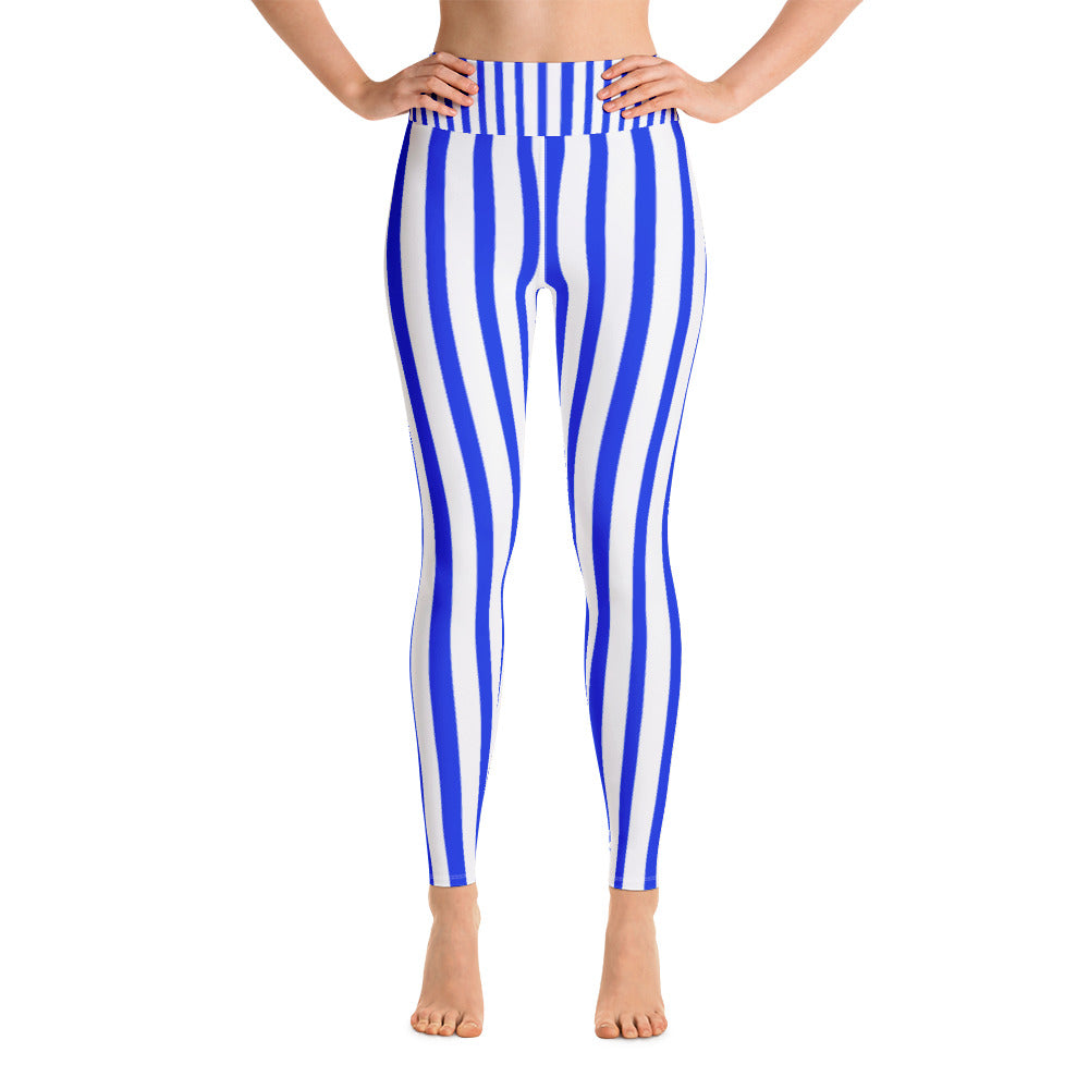 Women's Blue & White Striped Fitted Stretchy Long Yoga Leggings-Made in USA-Leggings-XS-Heidi Kimura Art LLC