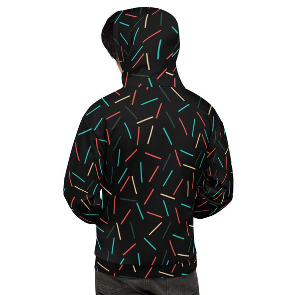 Black Sprinkle Print Men's or Women's Unisex Hoodie Sweatshirt Pullover- Made in EU-Men's Hoodie-Heidi Kimura Art LLC