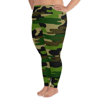 SHOP: Fumi Green Military Camo Camouflage Print Women's Plus Size Leggings (US Size: 2XL-6XL)