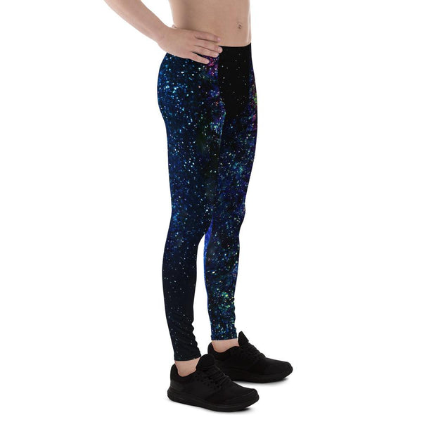 Space Galaxy Print Premium Men's Leggings Costume Pants Meggings - Made in USA/EU-Men's Leggings-Heidi Kimura Art LLC