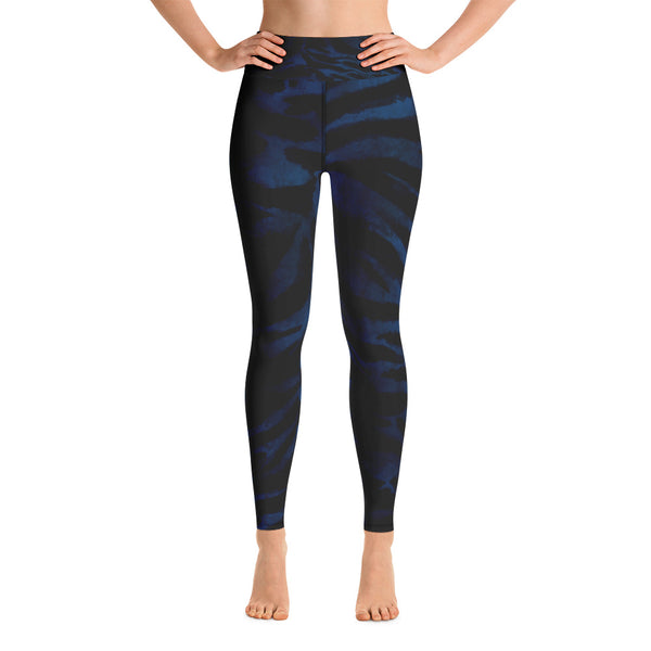 Women's Black & Blue Tiger Stripe Animal Print Fitted Leggings- Made in USA-Leggings-XS-Heidi Kimura Art LLC Blue Tiger Striped Leggings, Women's Black & Blue Tiger Stripe Animal Skin Pattern Active Wear Fitted Leggings Sports Long Yoga & Barre Pants - Made in USA/EU