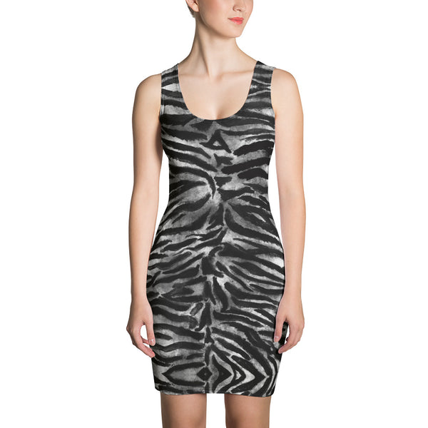 Black White Tiger Stripe Dress, Women's Animal Print Dress-Made in USA/EU-Heidi Kimura Art LLC-XS-Heidi Kimura Art LLC