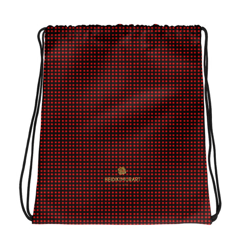 "Red Buffalo Plaid Print Designer 15""x17"" Drawstring Bag For Travel/ School- Made in USA/EU-Drawstring Bag-Heidi Kimura Art LLC"