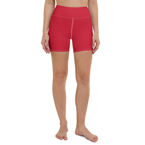 Red Women's Yoga Shorts, Red Solid Color Premium Quality Women's High Waist Spandex Fitness Workout Yoga Shorts, Yoga Tights, Fashion Gym Quick Drying Short Pants With Pockets - Made in USA/EU (US Size: XS-XL)