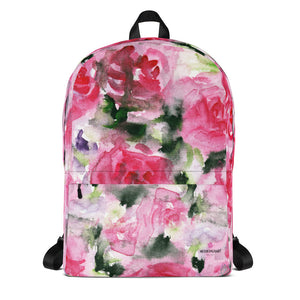 "Pink Rose Flower Watercolor Floral Medium Size (Fits 15"" Laptop) Backpack - Made in USA-Backpack-Heidi Kimura Art LLC"