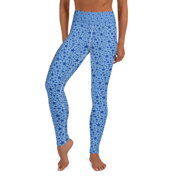 Light Blue Star Pattern Print Women's Yoga Leggings Leggings Pants- Made in USA/EU-Leggings-Heidi Kimura Art LLC Blue Star Women's Leggings, Light Blue White Stars Print Pattern Premium Women's Active Wear Fitted Leggings Sports Long Yoga & Barre Pants, Sportswear, Gym Clothes, Workout Pants - Made in USA/ EU (US Size: XS-XL)