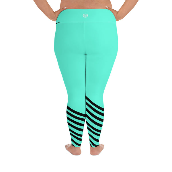 Turquoise Blue Black Diagonal Stripe Women's Yoga Pants Plus Size Yoga Leggings-Women's Plus Size Leggings-Heidi Kimura Art LLC
