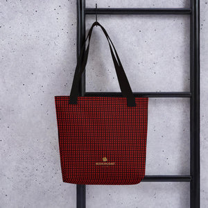"Red Buffalo Plaid Print Designer 15"" x 15"" Chic Tote Market Reusable Bag- Made in USA/EU-Tote Bag-Black-Heidi Kimura Art LLC"