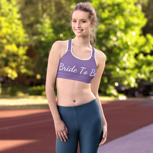 Lavender Purple Bride To Be Text Unpadded Women's Sports Bra - Made in USA/ EU-Sports Bras-Heidi Kimura Art LLC Lavender Purple Bride Sports Bra, Lavender Purple Bride To Be Text Premium Unpadded Elastic Polyester Spandex Women's Unpadded Gym Workout Sports Fitness Bra For Future Brides - Made in USA/ EU (US Size: XS-2XL)
