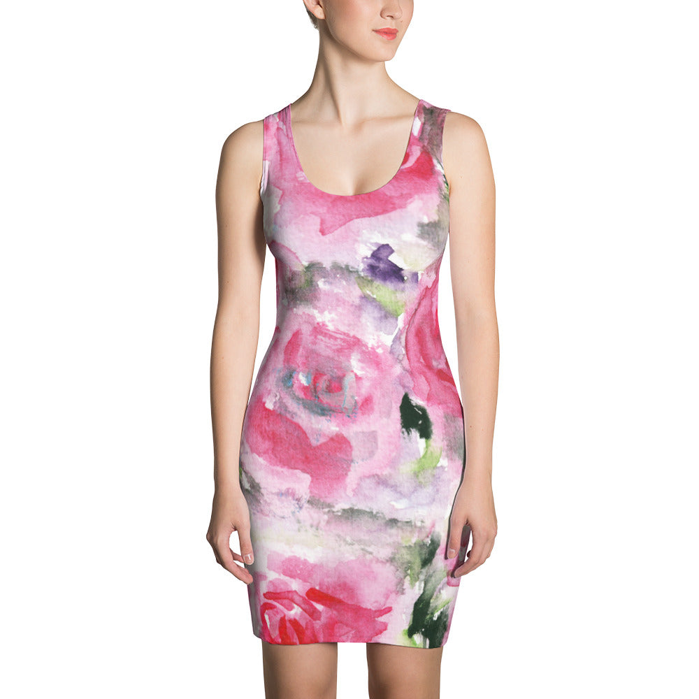 Girlie Pink Rose Floral Print Women's Premium Quality Long Sleeveless Dress - Made in USA-Women's Sleeveless Dress-XS-Heidi Kimura Art LLC