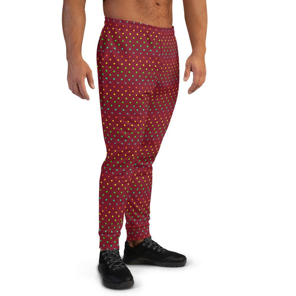 Dark Red Polka Dots Rainbow Print Men's Joggers-Made in EU (US Size: XS-3XL)-Men's Joggers-Heidi Kimura Art LLC