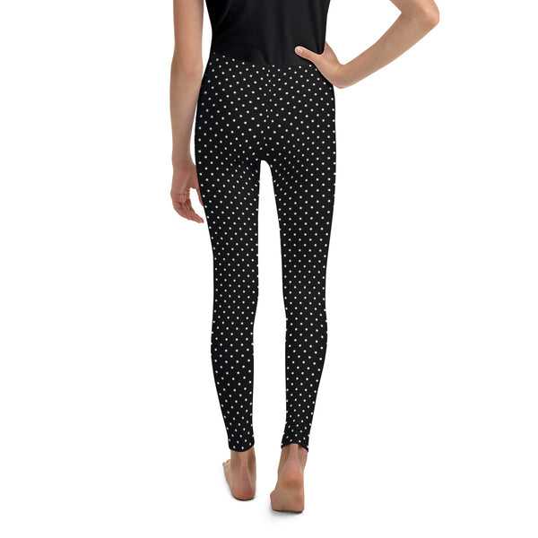 Classic Black White Polka Dots Print Premium Youth Leggings Tights - Made in USA/ EU-Youth's Leggings-Heidi Kimura Art LLC