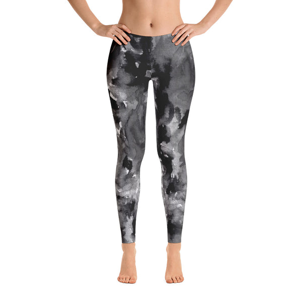 Gray Rose Floral Print Women's Long Casual Leggings/ Running Tights - Made in USA-Casual Leggings-Heidi Kimura Art LLC Gray Rose Leggings, Smoky Gray Rose Floral Print Women's Long Casual Leggings/ Running Tights - Made in USA/EU (US Size: XS-XL)