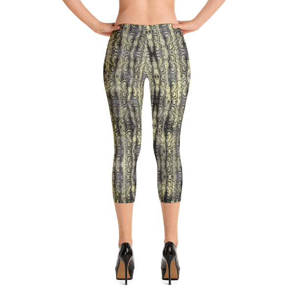 Snake Print Sexy Capri Leggings, Women's Premium Snakeskin Printed Casual Tights-Made in USA/EU-Heidikimurart Limited -XS-Heidi Kimura Art LLC Snake Print Sexy Capri Leggings, Women's Premium Snakeskin Printed Capri Designer Spandex Dressy Casual Fashion Leggings - Made in USA/EU/MX (US Size: XS-XL)