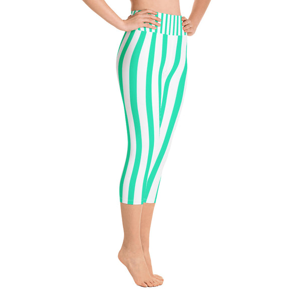 Turquoise Blue Vertical Striped Women's Yoga Capri Pants Leggings- Made in USA-Capri Yoga Pants-Heidi Kimura Art LLC
