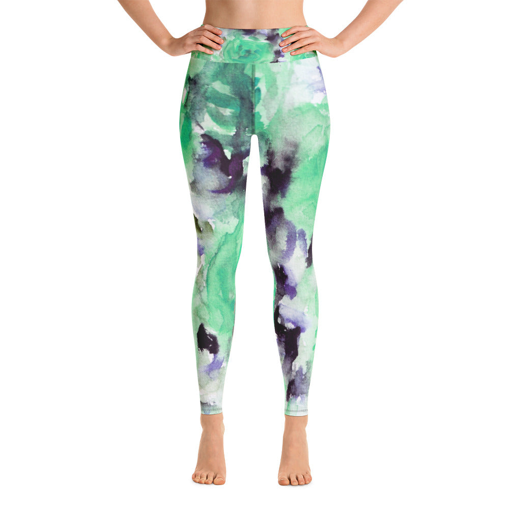 Blue Floral Women's Leggings, Blue Abstract Rose Floral Ocean Print Women's Yoga Leggings/ Long Yoga Pants - Made in USA/EU (US Size: XS-XL) Blue Abstract Rose Floral Ocean Print Yoga Leggings/ Long Yoga Pants - Made in USA-Leggings-XS-Heidi Kimura Art LLC