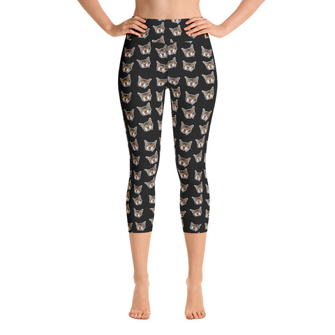 Black Peanut Calico Peanut Cat Print Women's Yoga Capri Leggings Pants- Made in USA/EU--Heidi Kimura Art LLCBlack Cat Capri Leggings, Cat Print Dressy Tight Pants, Peanut Calico Peanut Cat Print Women's Yoga Capri Leggings Pants- Made in USA/EU