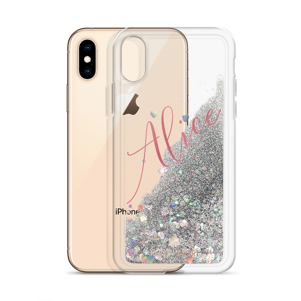Pink Foil Custom Name Designer Shiny Liquid Glitter Phone Case-Made in USA-Phone Case-Silver-iPhone X/XS-Heidi Kimura Art LLC