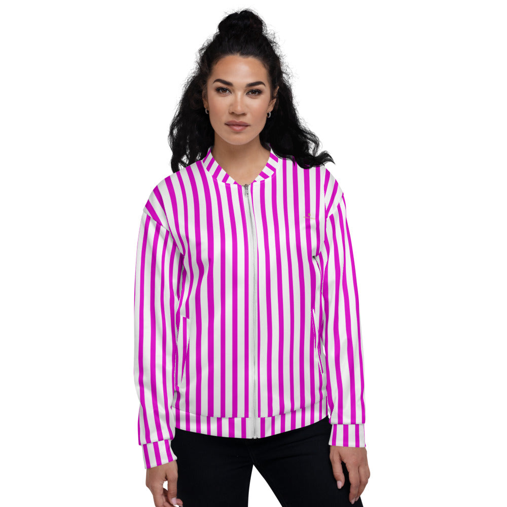 Pink Stripe Bomber Jacket, Unisex Jacket For Men or Women-Heidi Kimura Art LLC-XS-Heidi Kimura Art LLC Pink Stripe Bomber Jacket, Vertical Striped Print Jacket, Modern Premium Quality Modern Unisex Jacket For Men/Women With Pockets-Made in EU