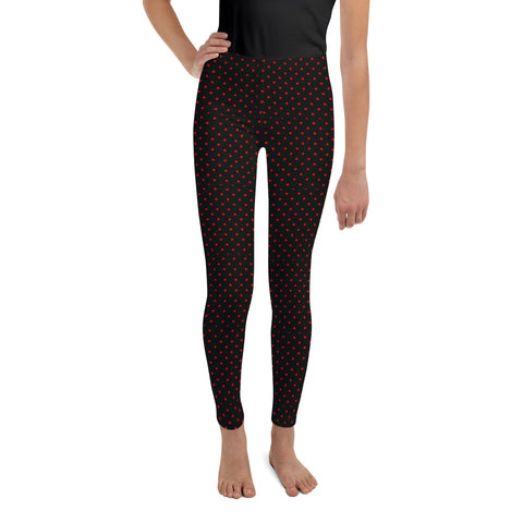 Polka Dots Print Youth Leggings, Premium Black & Red Long Yoga Pants - Made in USA/ EU-Youth's Leggings-8-Heidi Kimura Art LLC