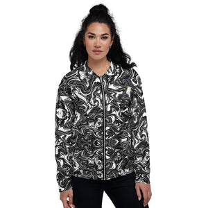 Black White Marble Bomber Jacket, Marble Print Modern Abstract Premium Quality Modern Unisex Jacket For Men/Women With Pockets-Made in EU