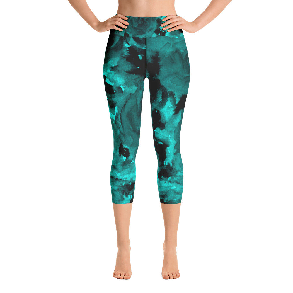 Priest Lake Dark Blue Rose Floral Print Capri Leggings Yoga Pants - Made in USA-Capri Yoga Pants-XS-Heidi Kimura Art LLC Aqua Blue Rose Capri Leggings, Dark Blue Rose Floral Print Capri Leggings Yoga Pants - Made in USA/EU (US Size: XS-XL)