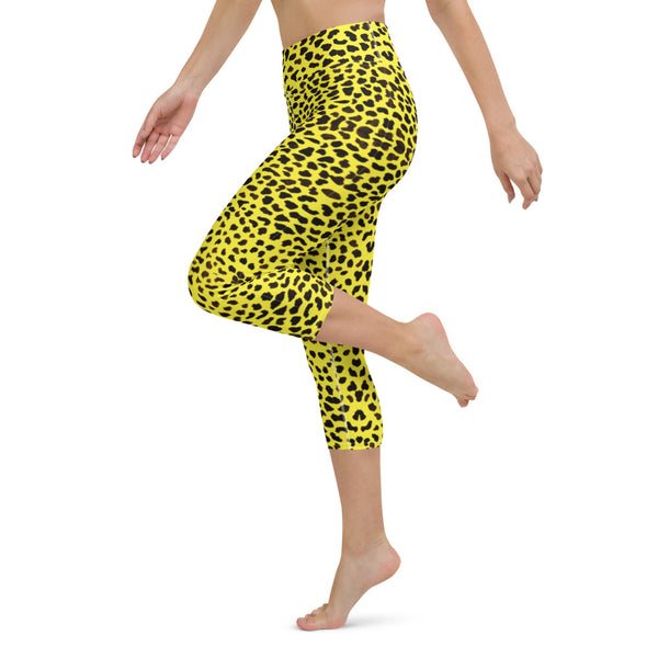 Yellow Leopard Yoga Capri Leggings-Heidikimurart Limited -Heidi Kimura Art LLC