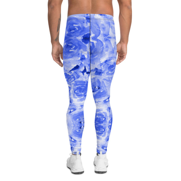 Blue Floral Men's Leggings-Heidikimurart Limited -Heidi Kimura Art LLC Blue Abstract Men's Leggings, Floral Print Designer Men's Leggings Tights Pants - Made in USA/MX/EU (US Size: XS-3XL) Sexy Meggings Men's Workout Gym Tights Leggings, Compression Tights