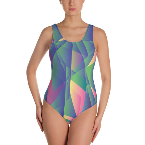 Momo Soft Blue Diamond Print Spandex Chlorine-Resistant Fabric Women's One-Piece Swimsuit Swimwear - Made in USA (US Size: XS-3XL) Plus Size Available