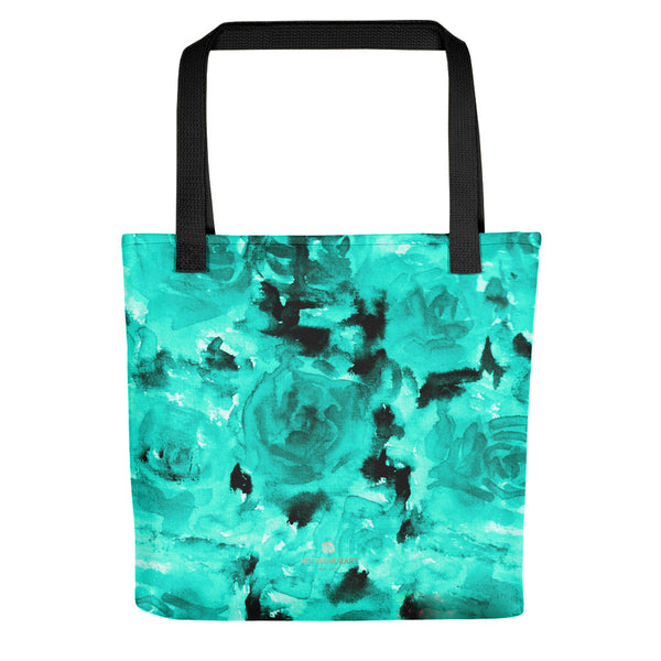 "Denji Clear Blue Rose Floral Print Designer 15"" x 15"" Tote Bag - Made in USA Denji Clear Blue Rose Floral Designer AOP Tote Bag - Made in USA"