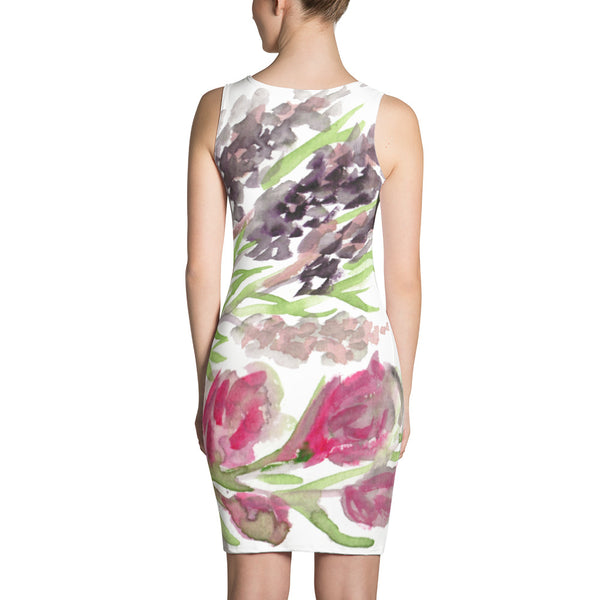 Blossoming Lavender Floral Print Long Sleeveless Women's Designer Dress - Made in USA-Women's Sleeveless Dress-Heidi Kimura Art LLC Floral Women's Dress, Blossoming Lavender Floral Print Long Sleeveless Women's Designer Dress - Made in USA/EU (US Size: XS-XL)
