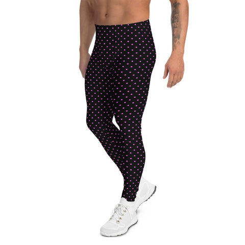 Pink Polka Dots Men's Leggings, Dotted Classic Running Tights-Made in USA/EU-Heidi Kimura Art LLC-Heidi Kimura Art LLC Pink Polka Dots Men's Leggings, Dotted Classic Sexy Meggings Men's Workout Gym Tights Leggings, Men's Compression Tights Pants - Made in USA/ EU (US Size: XS-3XL)