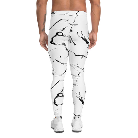 White Marble Print Men's Leggings-Heidikimurart Limited -Heidi Kimura Art LLC White Marble Print Men's Leggings, Abstract Marbled Style Sexy Meggings Men's Workout Gym Tights Leggings, Men's Compression Tights Pants - Made in USA/ EU/ MX (US Size: XS-3XL)