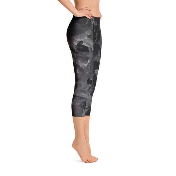Gray Black Rose Floral Print Women's Capri Leggings Spandex Tights - Made in USA-capri leggings-Heidi Kimura Art LLC