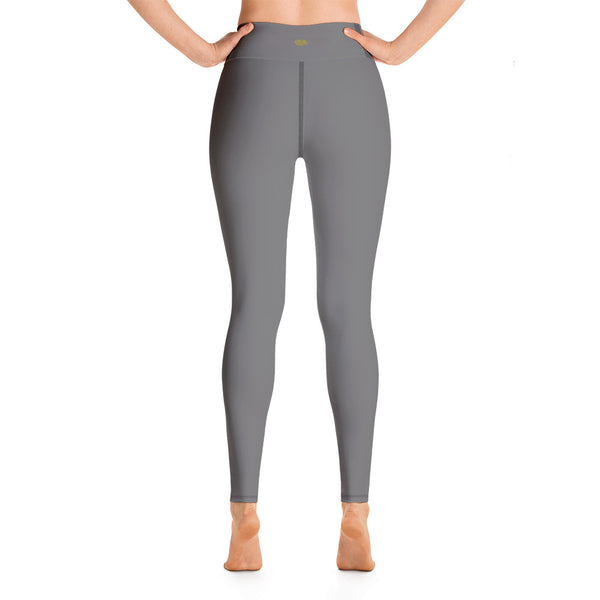 Women's Gray Solid Color Active Wear Fitted Leggings Sports Long Yoga & Barre Pants - Made in USA-Leggings-2XL-Heidi Kimura Art LLC
