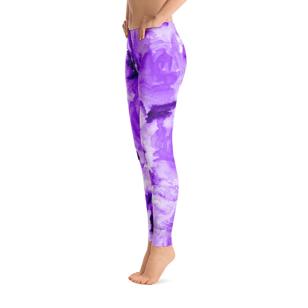 Purple Rose Floral Print Women's Long Casual Leggings/ Running Tights - Made in USA (US Size: XS-XL)-Casual Leggings-Heidi Kimura Art LLC
