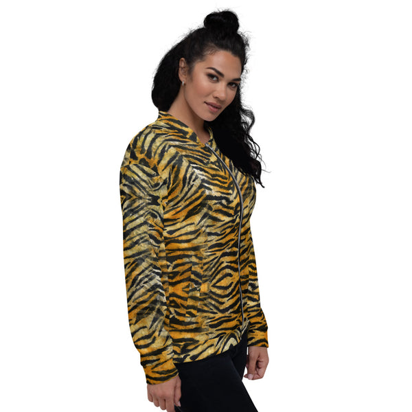 Tiger Stripe Bomber Jacket, Unisex Jacket For Men or Women-Heidi Kimura Art LLC-Heidi Kimura Art LLC Orange Brown Tiger Stripe Bomber Jacket, Animal Print Premium Quality Modern Unisex Jacket For Men/Women With Pockets-Made in EU