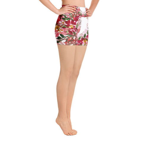 Jomei Autumn Red Floral Leaves Print Hot Yoga Women's Shorts,Made in USA, Cute Shorts, Hippie Shorts, Rave Clothing,Floral Hot Bootie Shorts, (US Size: XS-XL) Jomei Share Your Light Autumn Red Floral Wreath Print Women's Yoga Shorts, Made in USA  (US Size: XS-XL) Jomei Share Your Light Autumn Red Floral Wreath Print Yoga Shorts