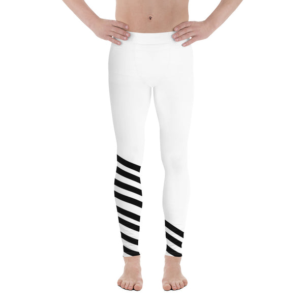 Black White Diagonal Striped Men's Tights Meggings Activewear Tights-Made in USA/EU-Men's Leggings-XS-Heidi Kimura Art LLC