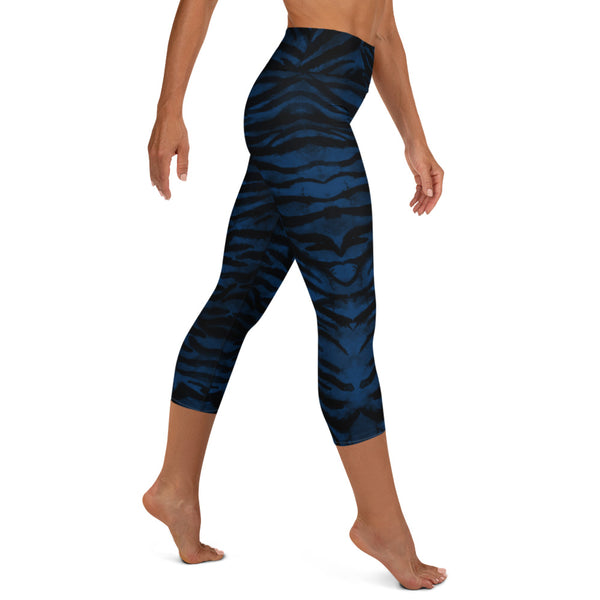 Tiger Stripe Yoga Capri Leggings, Navy Blue Animal Print Women's Yoga Tights-Heidikimurart Limited -Heidi Kimura Art LLC