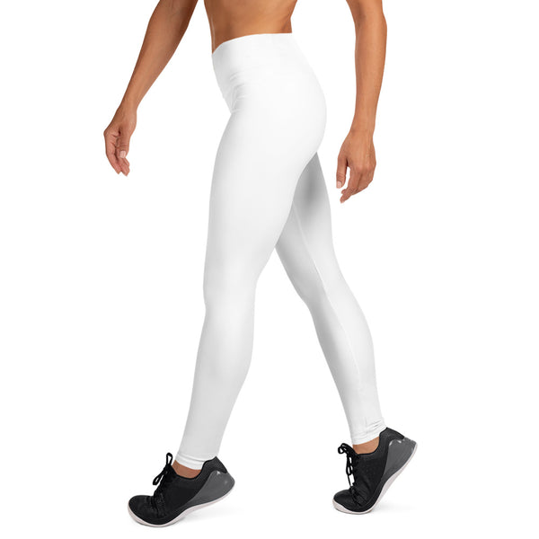 White Solid Color Premium Bestselling Women's Yoga Leggings Pants- Made in USA-Leggings-Heidi Kimura Art LLC White Women's Yoga Pants, White Solid Color Yoga Gym Tights, Long Yoga Pants Leggings Pants, Plus Size, Soft Tights - Made in USA/EU, Women's White Solid Color Active Wear Fitted Leggings Sports Long Yoga & Barre Pants (XS-XL)