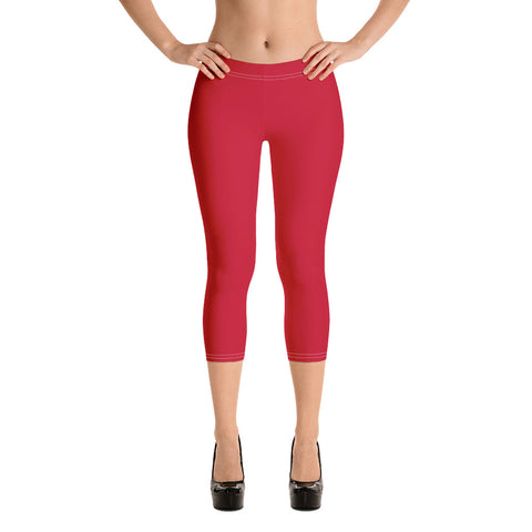 Red Women's Capri Leggings, Solid Color Capris Casual Tights-Made in USA/EU-Heidi Kimura Art LLC-Heidi Kimura Art LLC Red Women's Capri Leggings, Modern Solid Color Capri Designer Spandex Dressy Casual Fashion Leggings - Made in USA/EU (US Size: XS-XL)