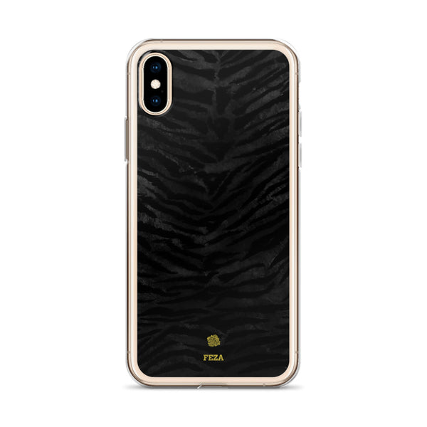Black Tiger Striped Animal Print Pattern Custom Name iPhone Case, Made in USA/ Europe-Phone Case-Heidi Kimura Art LLC