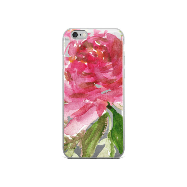 Happiness Clear Floral Girlie Pink, iPhone X | XS | XR | XS Max | 8 | 8+ | 7| 7+ |6/6S | 6+/6S+ Case- Made in USA-Phone Case-iPhone 6/6s-Heidi Kimura Art LLC