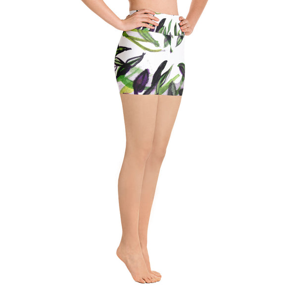 Green Purple White Tropical Leaves Print Yoga Shorts -Made in USA (US Size: XS-XL)-Yoga Shorts-Heidi Kimura Art LLC Green Tropical Print Yoga Shorts, Green Purple White Tropical Leaves Print Yoga Shorts -Made in USA/EU (US Size: XS-XL)