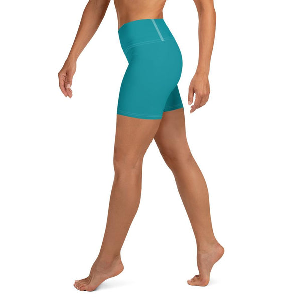 Teal Blue Solid Color Premium Quality Fitness Workout Yoga Shorts- Made in USA-Yoga Shorts-Heidi Kimura Art LLC Teal Blue Yoga Shorts, Teal Blue Solid Color Premium Quality Women's High Waist Spandex Fitness Workout Yoga Shorts, Yoga Tights, Fashion Gym Quick Drying Short Pants With Pockets - Made in USA/EU (US Size: XS-XL)