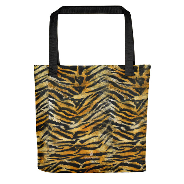 Fuji Bengal Tiger Orange Stripe Pattern Designer AOP Tote Bag - Made in USA
