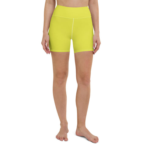 Bright Yellow Women's Yoga Shorts, Solid Color Ladies Short Tights-Made in USA/EU-Heidi Kimura Art LLC-XS-Heidi Kimura Art LLC Bright Yellow Women's Yoga Shorts, Solid Color Premium Quality Women's High Waist Spandex Fitness Workout Yoga Shorts, Yoga Tights, Fashion Gym Quick Drying Short Pants With Pockets - Made in USA/EU (US Size: XS-XL)