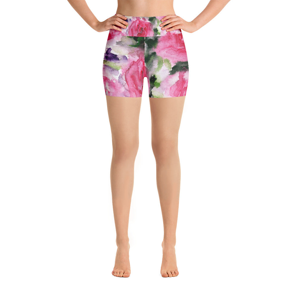 Warrior Strength Pink Floral Print Yoga Shorts - Made in the USA (US Size: XS-XL)-Yoga Shorts-XS-Heidi Kimura Art LLC Pink Rose Floral Yoga Shorts, Pink Floral Print Yoga Short Tights, Warrior Strength Pink Floral Print Yoga Shorts - Made and Designed in the USA (US Size: XS-XL)