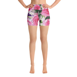 Kaori Warrior Pink Floral Print Yoga Shorts-Made in USA(Size: XS-XL)Cute Shorts, Hippie Shorts, Rave Clothing,Floral Print Hot Bootie Shorts Kaori Warrior Strength Pink Floral Print Yoga Shorts - Made and Designed in the USA (US Size: XS-XL) Kaori Warrior Strength Pink Floral Print Yoga Shorts - Made and Designed in the USA